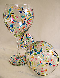 floral wineglass set